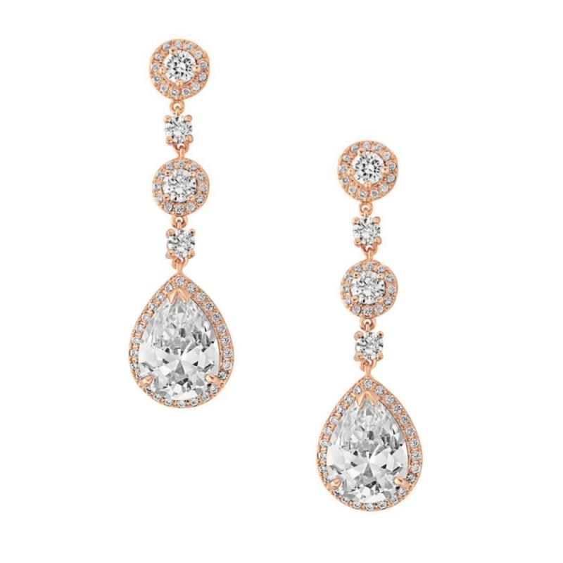 Eternally Crystal Bridal Earrings In Rose Gold