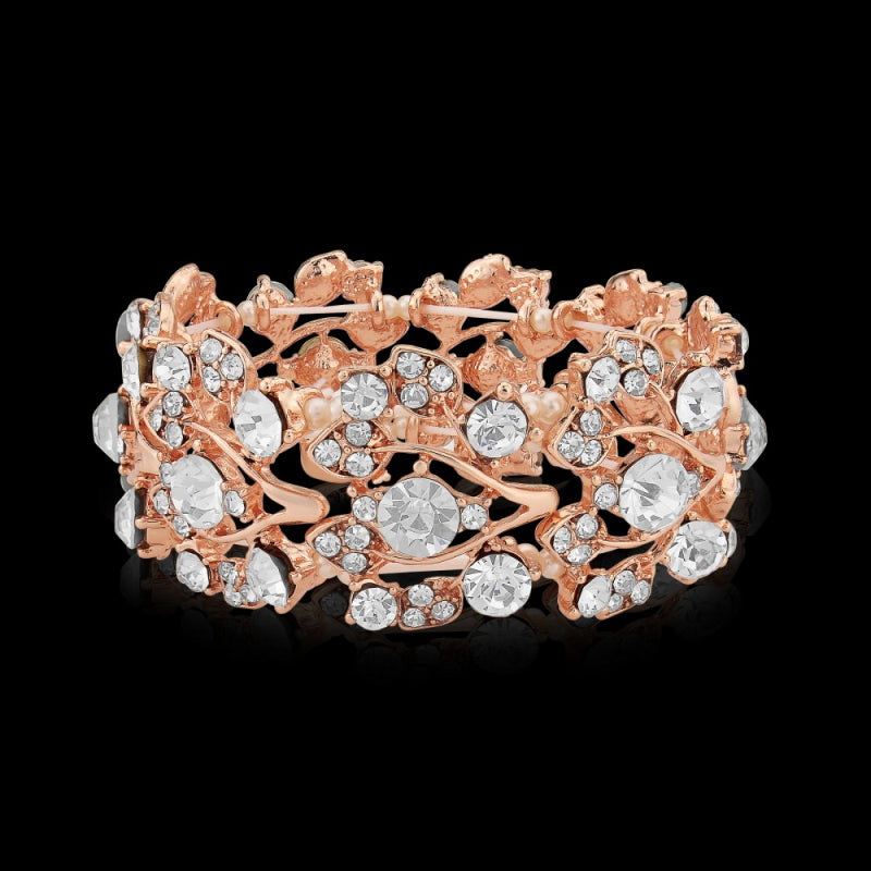 Eva Crystal Shimmer Rose Gold Wedding Bracelet