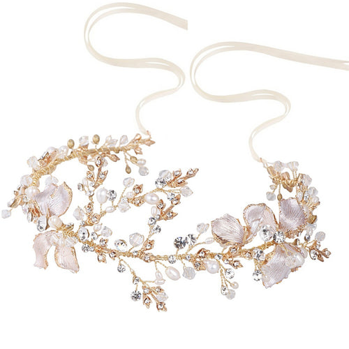 Flora Enchanting Blush Pink & Gold Vintage Wedding Hair Vine With Freshwater Pearls, Crystals And Hand Painted Flowers