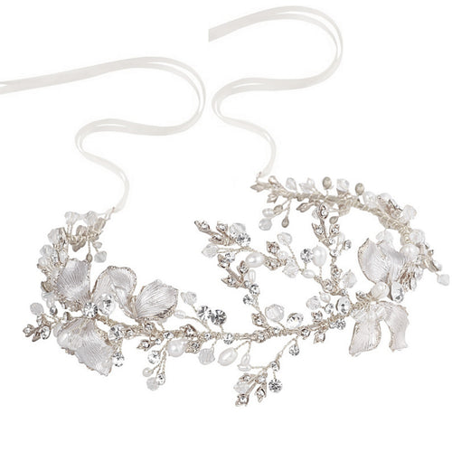 Flora Enchanting Silver Vintage Wedding Hair Vine Embellished With Pearls, Crystals And Hand Painted Flowers