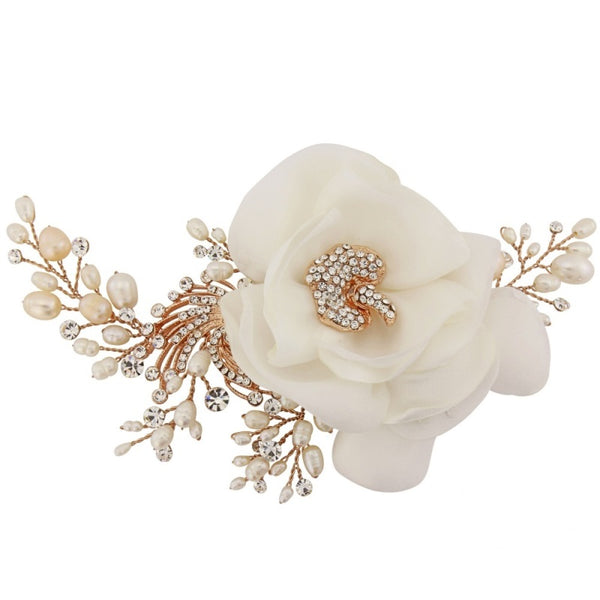 Florence Organza Flower & Rose Gold Headpiece
