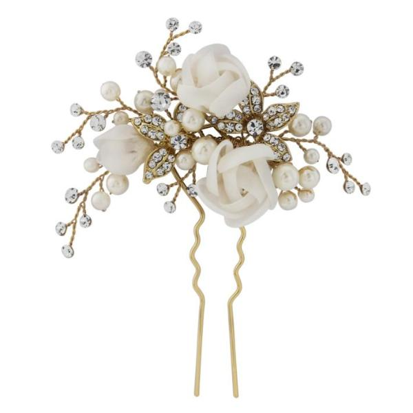 Freya Floral Gold Wedding Hair Pin With Fabric Flowers & Clear Crystals