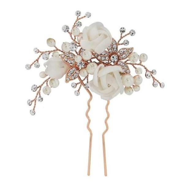 Freya Floral Rose Gold Wedding Hair Pin With Fabric Ivory Flowers & Clear Crystals