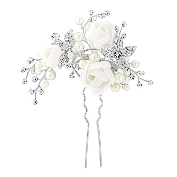 Freya Floral Silver Wedding Hair Pin