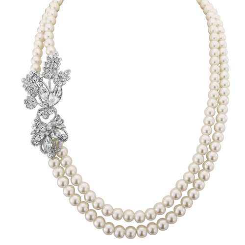 Gatsby Glam Pearl Wedding Necklace