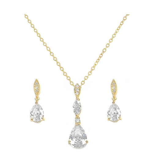 Cubic Zirconia Gold Wedding Necklace & Earrings Set