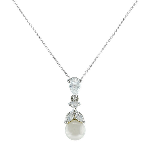 Graceful Pearl Silver Wedding Necklace