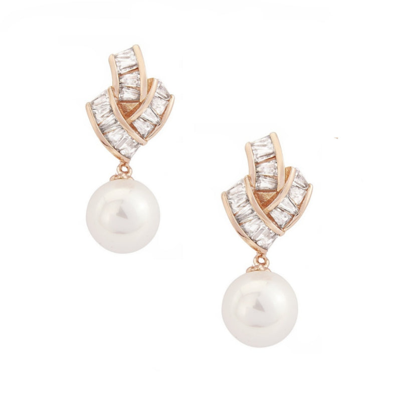 Gatsby Glam Pearl & Rose Gold Earrings