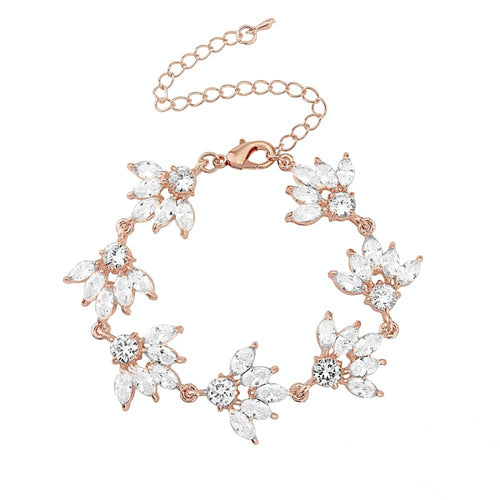 Gatsby Glitz Rose Gold Wedding Bracelet With Clear Crystals