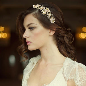Harriet Gatsby Luxe Bridal Headband In Gold