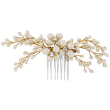 Load image into Gallery viewer, Isabel Freshwater Pearl Gold Wedding Hair Comb
