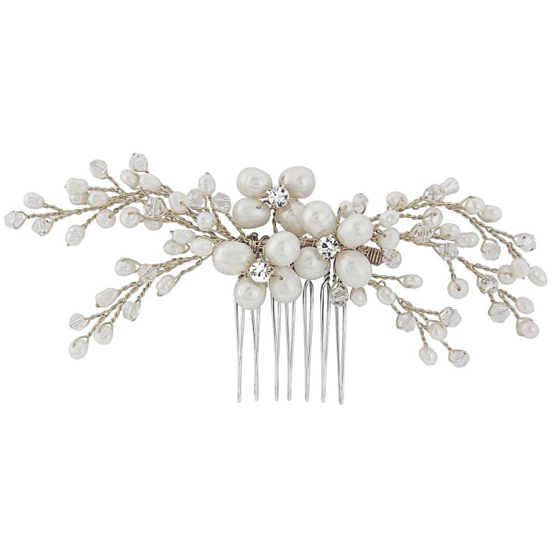 Isabel Freshwater Pearl Silver Wedding Hair Comb With CZ Crystals