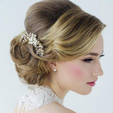Load image into Gallery viewer, Isabel Freshwater Pearl Rose Gold Wedding Hair Comb