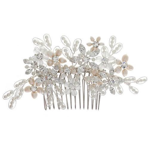 Juliette Pearl Floral Silver Wedding Hair Comb