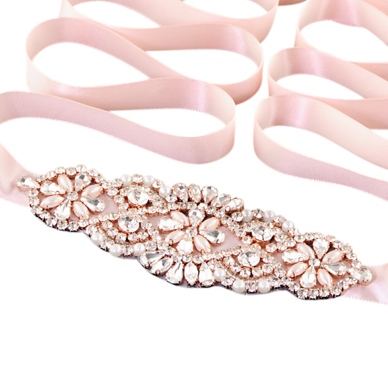 Liliana Crystal Pink Rose Wedding Belt