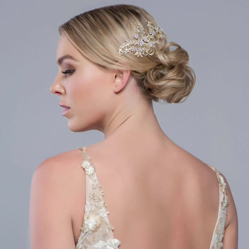 Liza Lace Inspired Gold Wedding Hair Comb