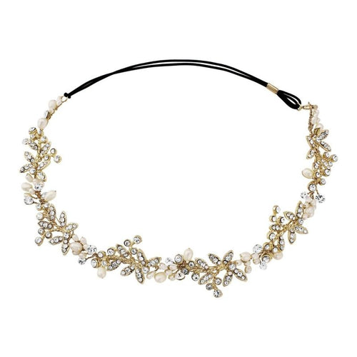 Luxe Embellished Crystal & Pearl Bridal Hair Vine In Gold