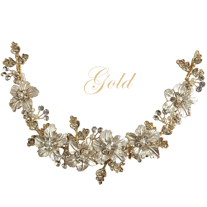 Lydia Floral Gold Hair Vine