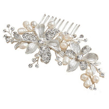 Load image into Gallery viewer, Millie Floral Pearl Silver Wedding Hair Comb