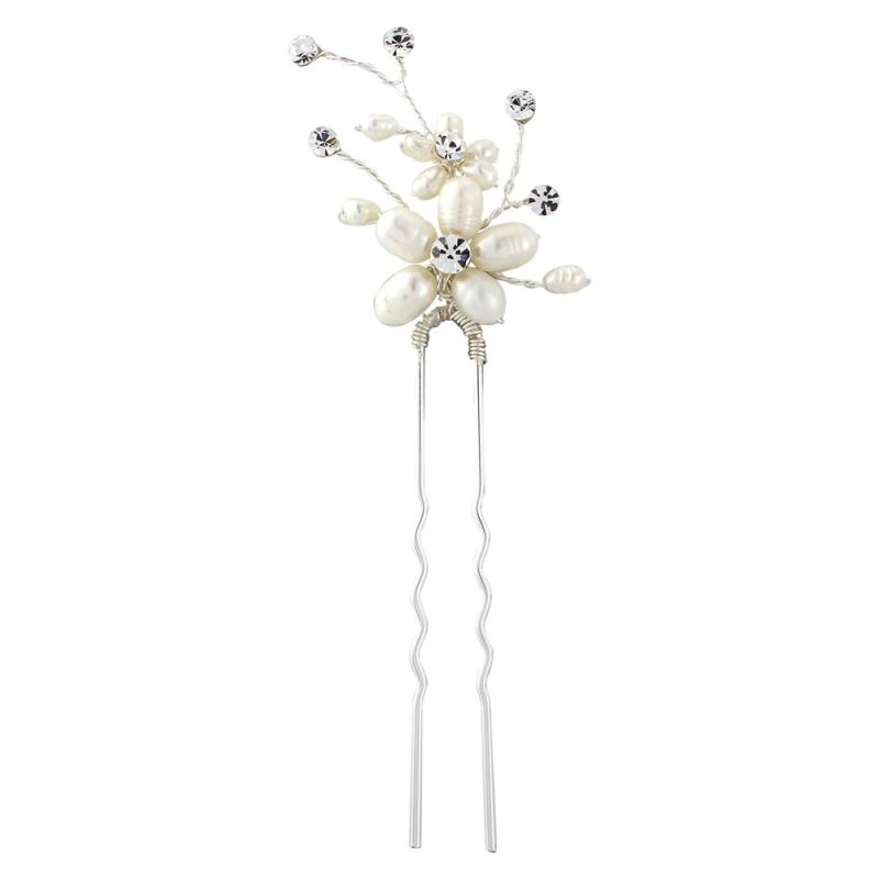 Neva Pearl Flower Hair Pin Sass B Collection