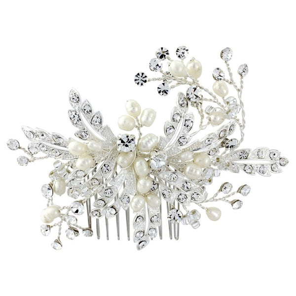 Ophelia Freshwater Pearl & Crystal Silver Wedding Hair Comb