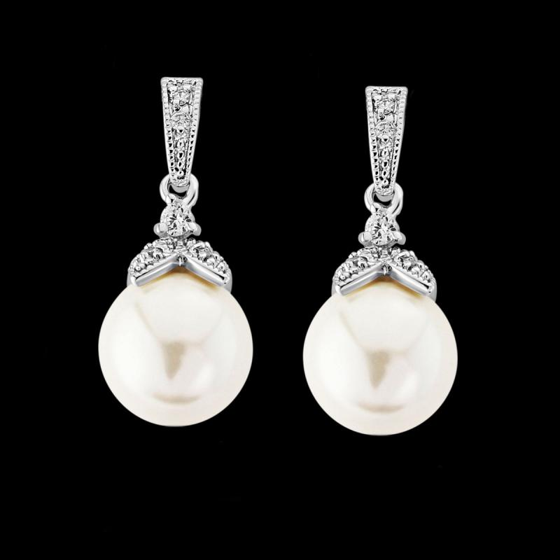 Opulence Pearl Bridal Earrings In Silver