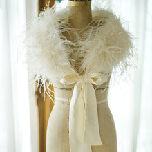 Load image into Gallery viewer, Ostrich Feather Bridal Shrug In Ivory