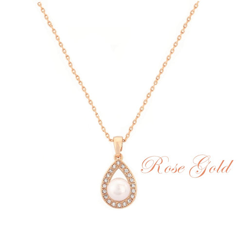 Precious Pearl Rose Gold Wedding Necklace