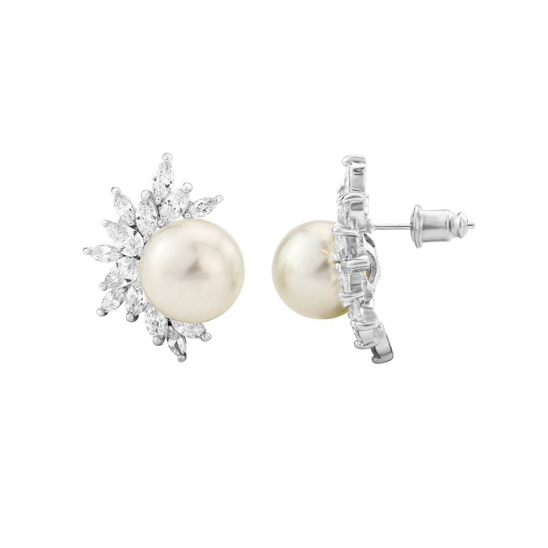 Pearl Dazzle Silver Stud Wedding Earrings