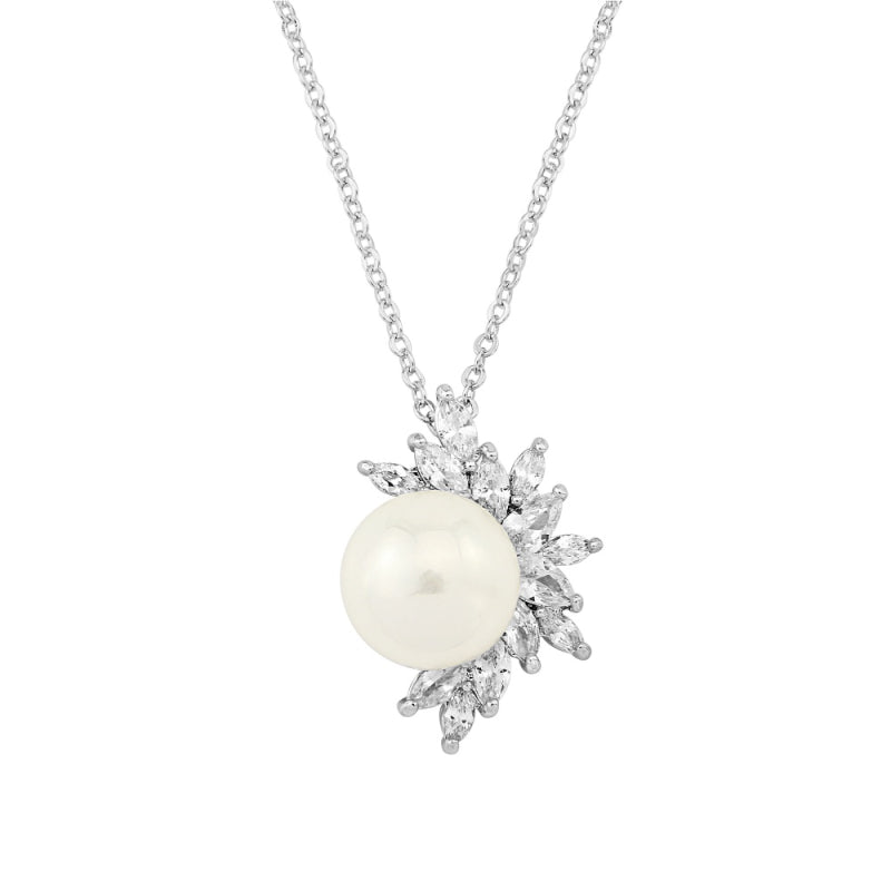 Pearl Dazzle Silver Wedding Necklace