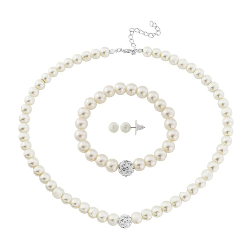 Pearl Wedding Necklace, Bracelet & Earrings Set