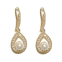 Load image into Gallery viewer, Precious Pearl Bridal Earrings In Gold