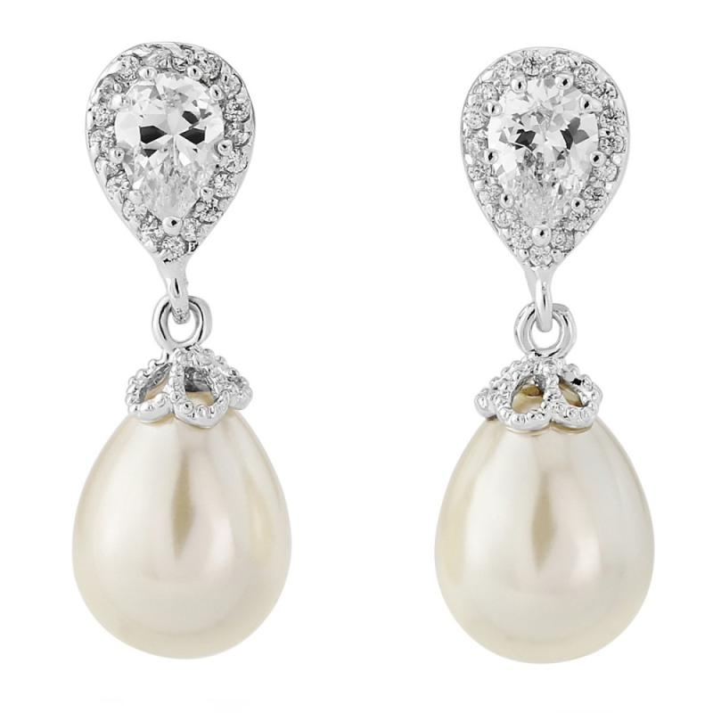 Precious Shimmer & Pearl Bridal Earrings
