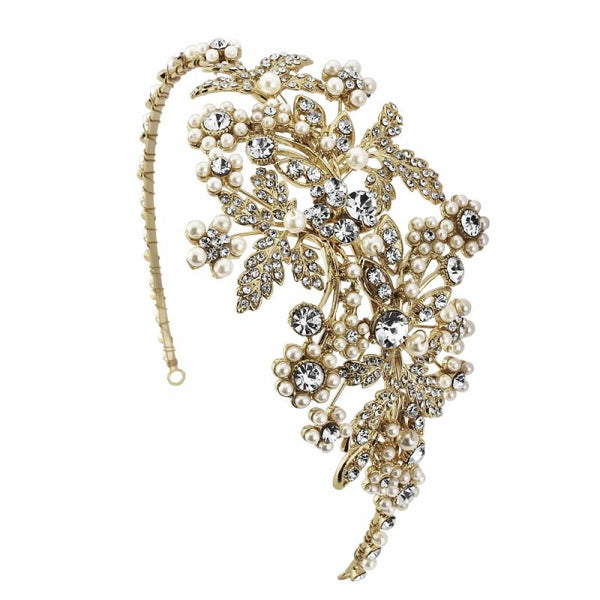 Rosalie Pearl Enchantment Headband In Gold