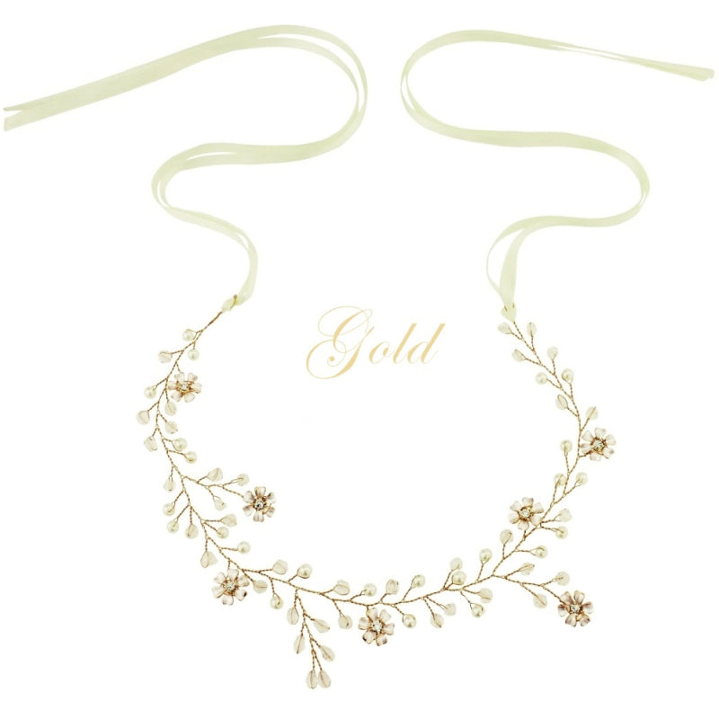 Romance Gold Crystal & Pearl Hair Vine Featuring Simulate Ivory Pearls, Clear Crystals & Flowers