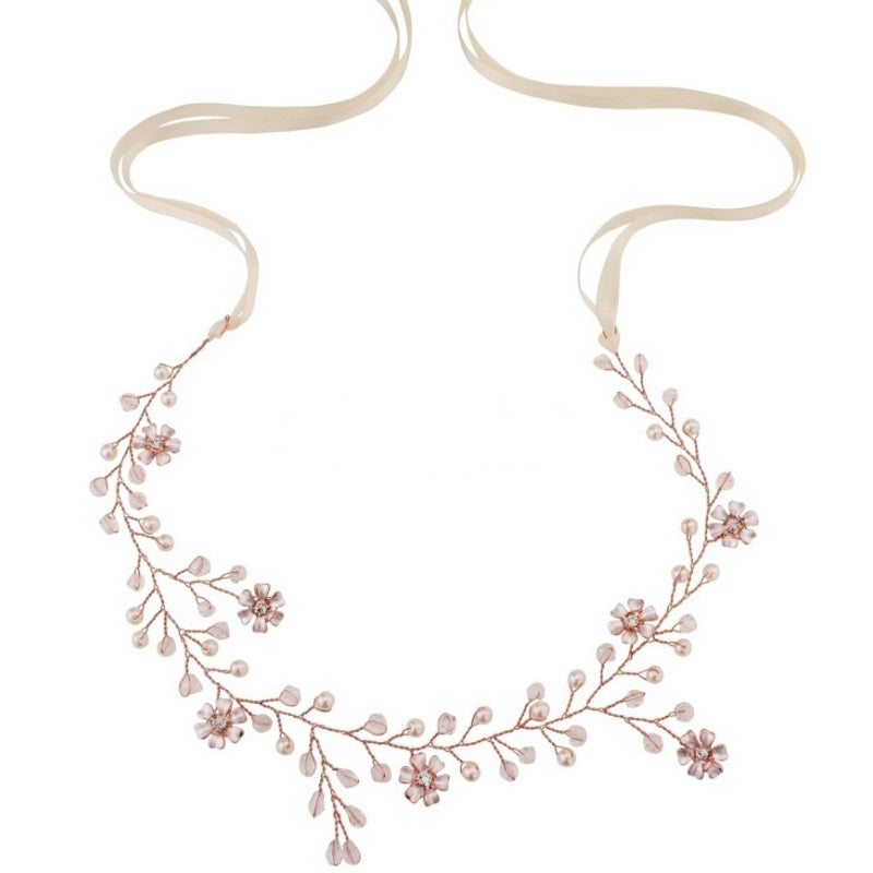 Romance Rose Gold Crystal & Pearl Hair Vine Featuring Ivory Pearls, Clear Crystals & Flowers.
