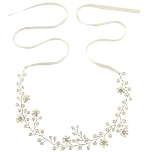 Romance Silver Crystal & Pearl Hair Vine Featuring Simulate Ivory Pearls, Clear Crystals & Flowers