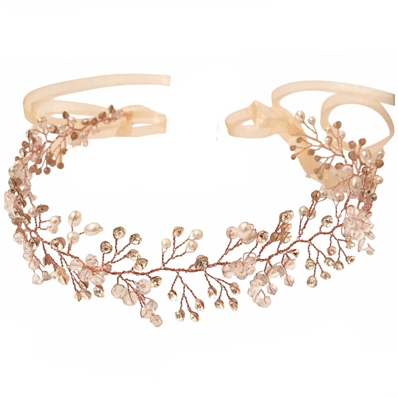 Rose Gold Crystal Shimmer Hair Vine Featuring Clear Crystals And Ivory Pearls On A Rose Gold Vine