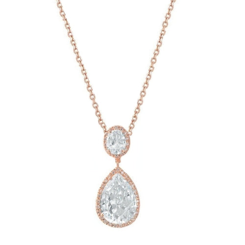 Sheer Elegance Rose Gold Wedding Necklace