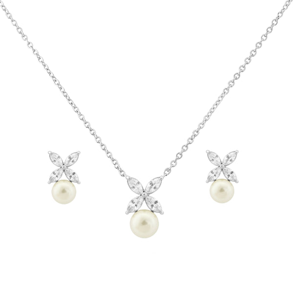Simple Chic Silver Wedding Necklace & Earrings Set