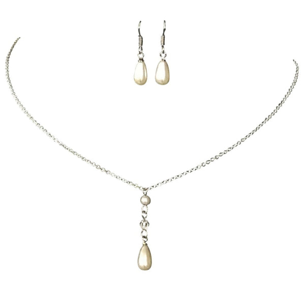 Simply Chic Pearl Silver Necklace & Earrings Set