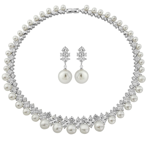 Statement Pearl Silver Wedding Necklace & Earrings Set