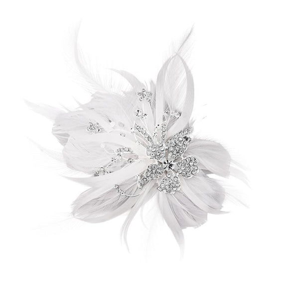 Seraphina Embellished Feather Bridal Headpiece In White