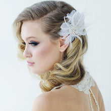 Load image into Gallery viewer, Seraphina Embellished Feather Bridal Headpiece In Ivory