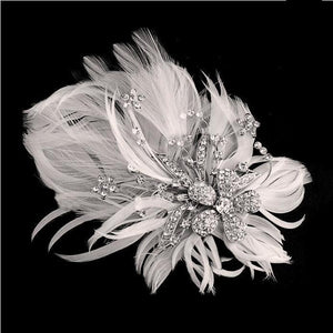 Seraphina Embellished Feather Bridal Headpiece In Ivory