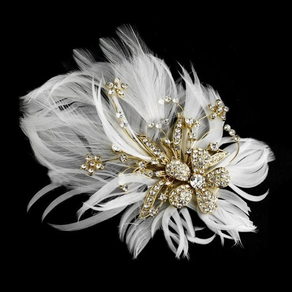 Seraphina Embellished Feather Bridal Headpiece In White & Gold