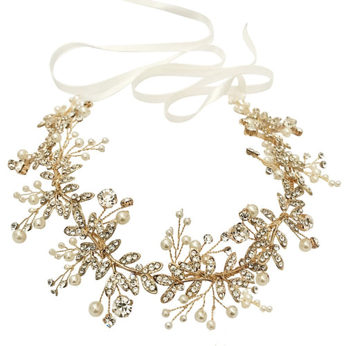 Starlet Crystal Gold Hair Vine Featuring Ivory Pearls & Clear Crystals