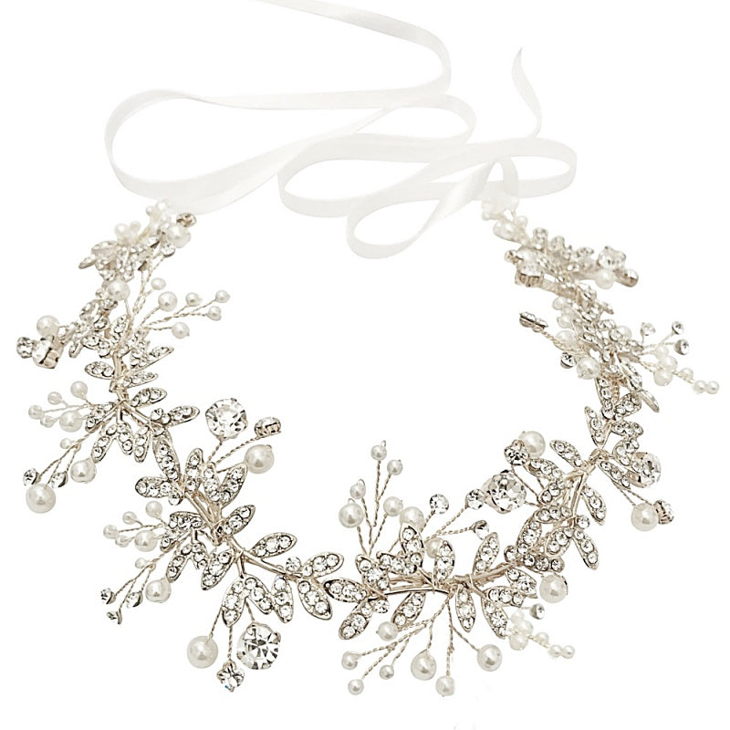 Starlet Crystal Silver Hair Vine Featuring Clear Crystal & Ivory Pearls