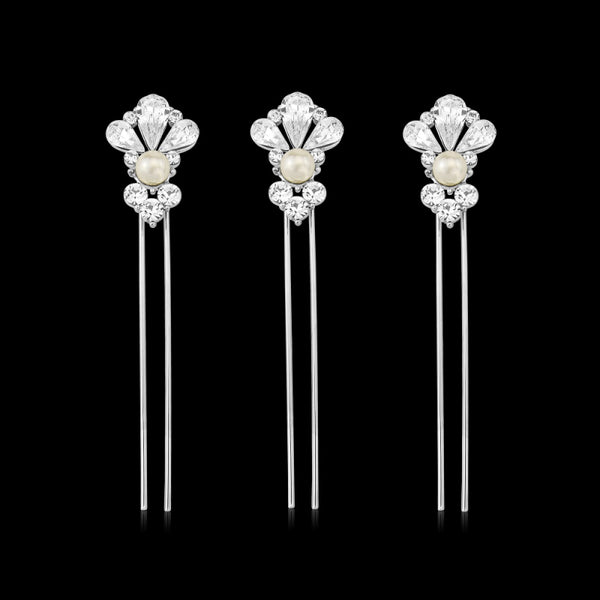 Starlet Pearl Wedding Hair Pins Set Of 3 With Simulated Ivory Pearls & Clear Crystals On A Silver Finish