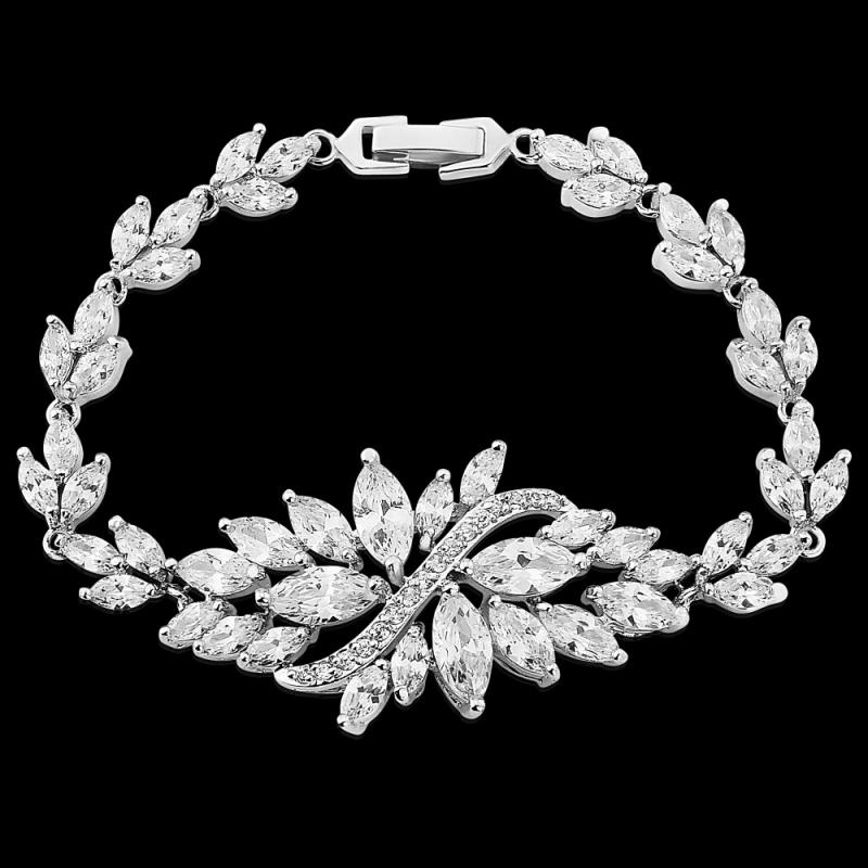 Crystal Statement Bridal Bracelet In Silver